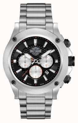 Harley Davidson Cronografo da uomo | quadrante nero | acciaio inossidabile argento 78B126