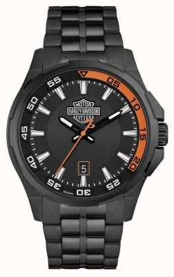 Harley Davidson Cruscotto uomo | quadrante nero | bracciale in acciaio nero 78B141