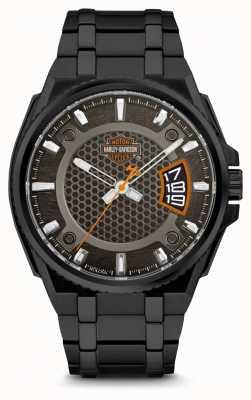 Harley Davidson Mens per lui | quadrante nero | bracciale in acciaio inossidabile nero 78B151