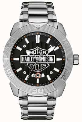 Harley Davidson Bracciale da uomo in acciaio | quadrante nero 76B169