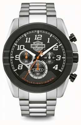 Harley Davidson Cronografo da uomo | quadrante nero | acciaio inossidabile bicolore 76B175