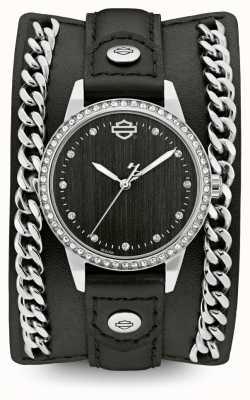 Harley Davidson Da donna della collezione di polsini a catena cinturino in pelle nera 76L184