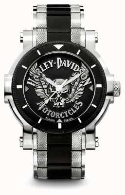 Harley Davidson Bracciale da uomo in acciaio inossidabile bicolore | quadrante nero 78A109