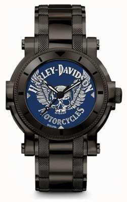 Harley Davidson Mens per lui | bracciale in acciaio inossidabile nero | quadrante blu 78A117