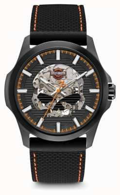 Harley Davidson Mens willie g skull | quadrante nero | cinturino in silicone nero 78A118