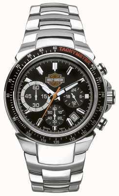 Harley Davidson Cronografo da uomo | quadrante nero | acciaio inossidabile argento 78B113