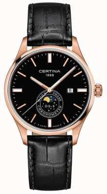Certina Uomo ds-8 | nero | oro rosa | orologio con fasi lunari C0334573605100