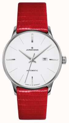 Junghans Meister damen automatic | cinturino in vera lucertola rossa 027/4844.00