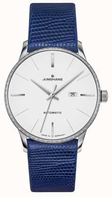 Junghans Meister damen automatic | set di diamanti | cinturino in lucertola blu 027/4846.00