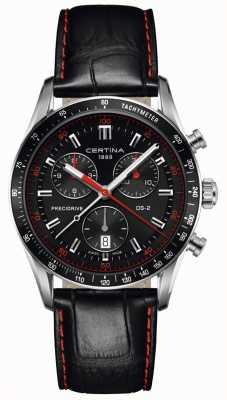 Certina Mens ds-2 | cronografo | quadrante nero | cinturino in pelle nera C0244471605103