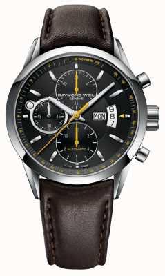 Raymond Weil Libero professionista degli uomini | cronografo | pelle marrone | quadrante nero 7730-STC-20021