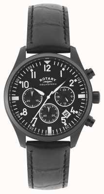 Rotary Cronografo da uomo | cinturino in pelle nera | quadrante nero GS00110/04