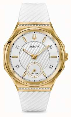 Bulova Cinturino in oro bianco placcato oro con diamanti curv da donna 98R237