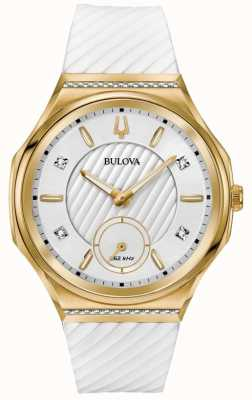 Bulova Cinturino in oro bianco con diamanti incurvati da donna 98R237