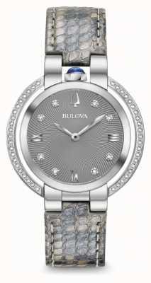 Bulova Cinturino in pelle con diamanti rubaiyat da donna 96R218