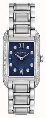 Bulova Bracciale da donna con quadrante nero in acciaio con diamanti 96R211