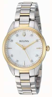 Bulova Cassa da donna bicolore in madreperla con diamanti 98P184