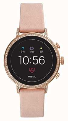 Fossil Collegato q venture hr smart watch blush set di pietre in pelle FTW6015