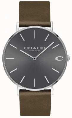 Coach Charles da uomo | cinturino in pelle marrone | quadrante grigio 14602153
