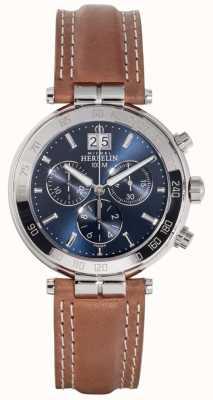 Michel Herbelin Quadrante blu con cinturino in pelle marrone newport da uomo 36654/AP15GO