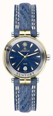 Michel Herbelin Cinturino da donna newport blu placcato in oro 14255/T35