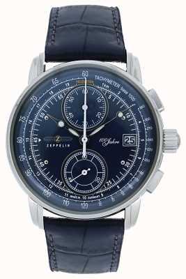 Zeppelin | serie 100 anni | cronografo data | pelle blu | 8670-3