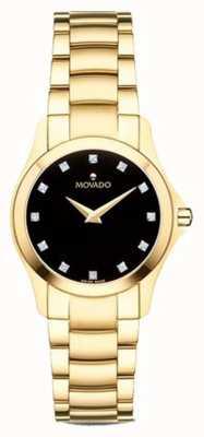 Movado | orologio da donna moisan | tono dorato | quadrante nero | 0607028