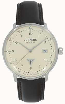 Junkers Bauhaus color crema orologio cinturino in pelle marrone 6046-5