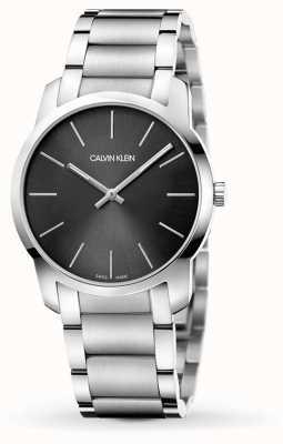 Calvin Klein   città degli uomini   bracciale in acciaio inossidabile   quadrante nero / grigio   K2G22143