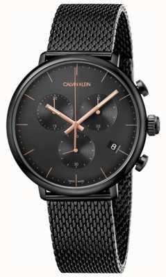 Calvin Klein | uomo alto mezzogiorno nero acciaio inossidabile | cronografo | K8M27421