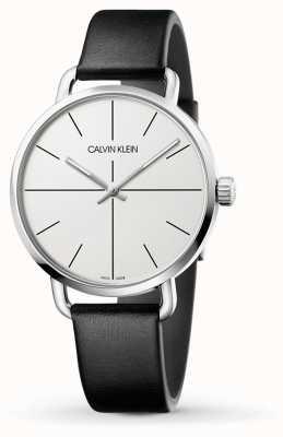 Calvin Klein   persino l'orologio di estensione   cinturino in pelle nera   quadrante bianco   K7B211CY