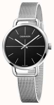 Calvin Klein   persino guardare   cinturino in maglia di acciaio inossidabile   quadrante nero   K7B23121