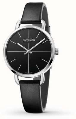 Calvin Klein   persino l'orologio di estensione   cinturino in pelle nera   quadrante nero   K7B231CZ
