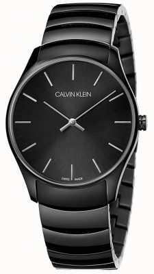 Calvin Klein | mens classic midsize | cinturino nero in acciaio inossidabile | K4D21441