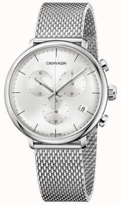 Calvin Klein   cravatta da uomo in acciaio inossidabile a mezzogiorno   quadrante argento   K8M27126