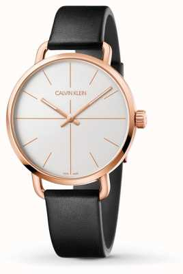 Calvin Klein   persino l'orologio di estensione   cinturino in pelle nera   caso di rosegold K7B216C6