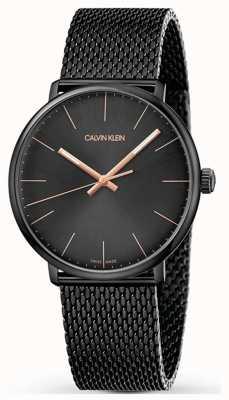 Calvin Klein | orologio da alto mezzogiorno | cinturino nero in maglia nera | quadrante nero K8M21421