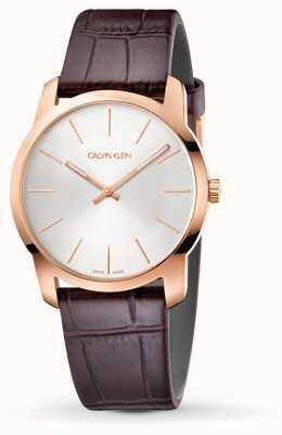 Calvin Klein   orologio per l'estensione della città   cinturino in pelle marrone   quadrante argento   K2G226G6