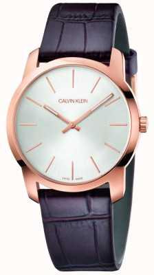 Calvin Klein | orologio per l'estensione della città | cinturino in pelle marrone | quadrante argento | K2G226G6