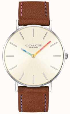 Coach | orologio da donna perry | quadrante bianco cinturino in pelle marrone | 14503032