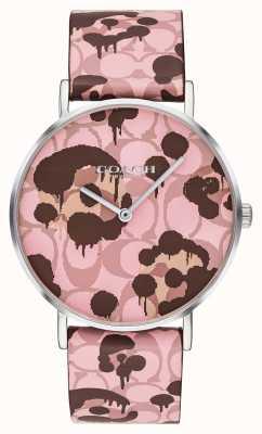 Coach | orologio da donna perry | disegno floreale cinturino in pelle rosa | 14503246