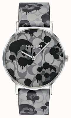 Coach | orologio da donna perry | disegno floreale cinturino in pelle grigia | 14503248