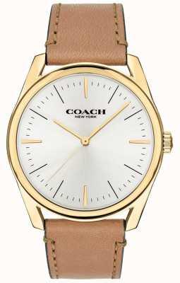 Coach | orologio da uomo moderno di lusso | quadrante bianco cinturino in pelle marrone | 14602398