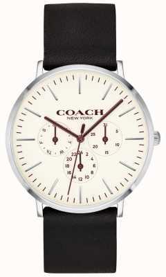 Coach | orologio da uomo varick | quadrante bianco cinturino in pelle nera | 14602387