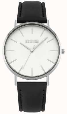 Missguided | orologio da donna | cinturino in pelle nera quadrante bianco | MG017B