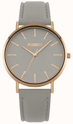 Missguided | orologio da donna | quadrante grigio cinturino in pelle grigia | MG017ERG