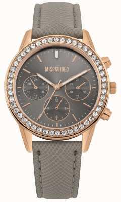Missguided | orologio da donna | cassa cinturino in oro rosa cinturino in pelle | MG002ERG