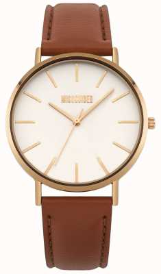 Missguided | orologio da donna | quadrante bianco in pelle marrone | MG017TRG