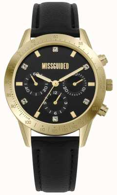 Missguided | orologio da donna | custodia in pelle nera e oro MG004BG