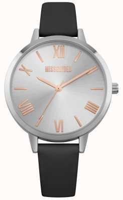 Missguided | orologio da donna | quadrante argento cinturino in pelle nera MG001B